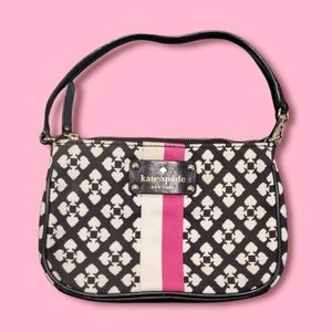 Kate Spade Black and Cream with Pink and White Front Stripes Wristlet